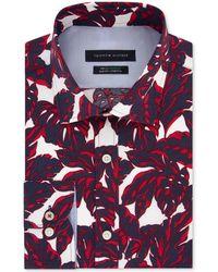 Tommy Hilfiger Slim-fit Non-iron Th Flex Performance Stretch Frond-print Supima® Cotton Dress Shirt - Red
