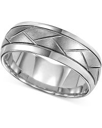 Macy's - Triton Men's Tungsten Carbide 8mm Diagonal Accent Ring - Lyst
