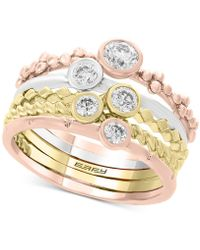 Effy Collection - Effy® 5 Pc. Set Diamond Tricolor Stacking Rings (5/8 Ct. T.w.) In 14k Gold, White Gold & Rose Gold - Lyst