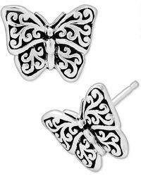 Lois Hill Filigree Butterfly Stud Earrings In Sterling Silver - Metallic