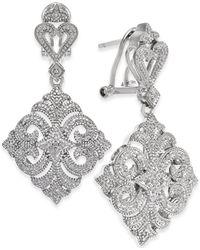 Macy's - Diamond Filigree Drop Earrings (1/10 Ct. T.w.) In Sterling Silver - Lyst
