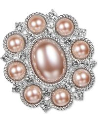 Charter Club Silver-tone Pavé & Imitation Pearl Oval Pin, Created For Macy's - Metallic