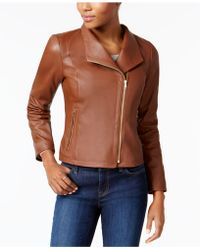 Cole Haan - Asymmetrical Leather Moto Jacket - Lyst