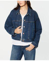 Eileen Fisher Cropped Denim Jacket, Regular & Petite - Blue