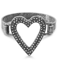 Steve Madden - Open Heart Design Bangle Bracelet (gunmetal-tone) Bracelet - Lyst