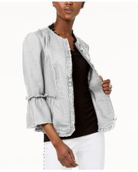 INC International Concepts - I.n.c. Ruffled Linen Frayed-trim Jacket, Created For Macy's - Lyst