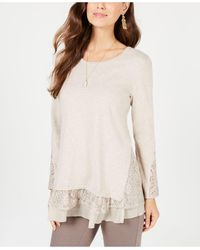 Style & Co. Layered-look Tunic, Created For Macy's - Natural