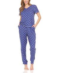 BEARPAW Logo Print Jersey Short Sleeve V-neck T-shirt And Jogger, Pajama Lounge Comfy Sleepwear Set, 2 Piece - Blue