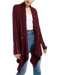 INC International Concepts Inc Studded Cardigan Sweater, Created For Macy's - Red