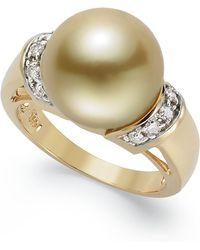 Macy's - 14k Gold Ring, Golden South Sea Pearl (12mm) And Diamond (1/4 Ct. T.w.) Ring - Lyst