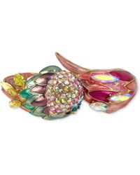 Betsey Johnson - Gold-tone Multi-stone Parrot Bangle Bracelet - Lyst