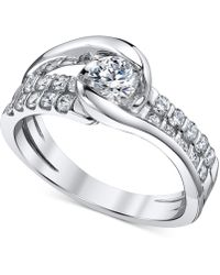 Sirena Diamond Two-row Engagement Ring (7/8 Ct. T.w.) In 14k White Gold - Metallic