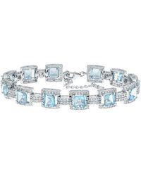Macy's Blue And White Topaz Tennis Bracelet In Sterling Silver