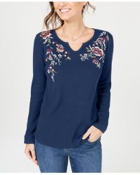 Style & Co. - Petite Cotton Embroidered Split-neck Top, Created For Macy's - Lyst
