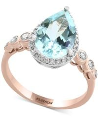 Effy Collection - Aquamarine (2-1/2 Ct. T.w.) & Diamond (1/4 Ct. T.w.) Ring In 14k Rose & White Gold - Lyst