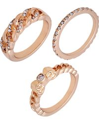 Guess Gold-tone 3-pc. Set Crystal Stack Rings - Metallic