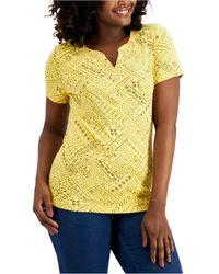 Karen Scott Mixed-print Henley Top, Created For Macy's - Yellow