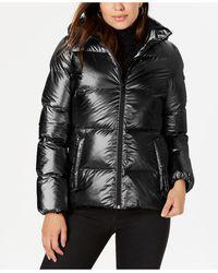 BCBGeneration Hooded Metallic Puffer Coat - Black