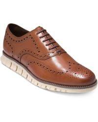 Cole Haan Cole Hann Zerøgrand Wingtip Leather Dress Shoes - Brown