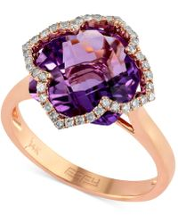 Effy Collection - Amethyst (5-3/4 Ct. T.w.) And Diamond (1/5 Ct. T.w.) Clover Ring In 14k Rose Gold - Lyst