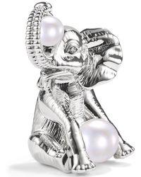 Charter Club Silver-tone Pavé & Imitation Pearl Elephant Pin, Created For Macy's - Metallic