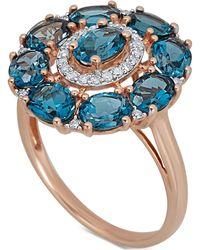 Macy's - London Blue Topaz (4-5/8 Ct. T.w.) & Diamond (1/8 Ct. T.w.) Ring In 14k Rose Gold - Lyst
