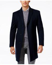 Kenneth Cole Reaction Raburn Wool-Blend Slim-Fit Over Coat  - Blue