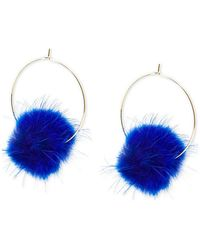 "Zenzii Large Gold-tone Faux-fur Pom-pom Hoop Earrings, 2.5"" - Blue"