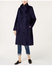 Eileen Fisher Alpaca High-collar Coat - Blue