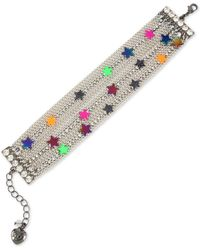 Betsey Johnson Multi-tone Neon Star Multi-row Chain Bracelet - Multicolour