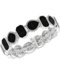 Nine West - Silver-tone Pavé & Stone Stretch Bracelet - Lyst