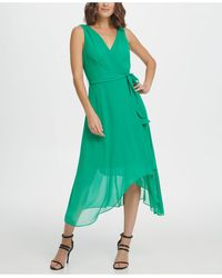 DKNY S/l Double-v Faux Wrap With Belt - Green