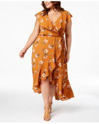 Soprano - Trendy Plus Size Ruffled Wrap Dress - Lyst
