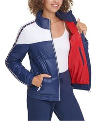Tommy Hilfiger Sport Colorblocked Front-zip Puffer Coat - Blue