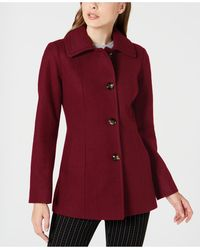 London Fog Petite Single-breasted Double-collar Coat - Red
