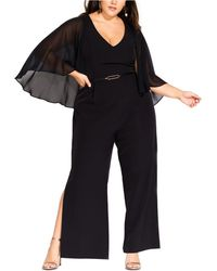 City Chic Trendy Plus Size Sheer-cape Belted Jumpsuit - Black