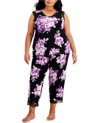 Charter Club Plus Size Floral-print Pajama Set, Created For Macy's - Black