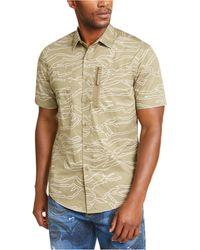 Sean John Camouflage Military Flight Short Sleeve Shirt - Multicolor