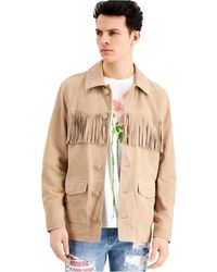 INC International Concepts Fringed Suede Jacket, Created For Macy's - Natural