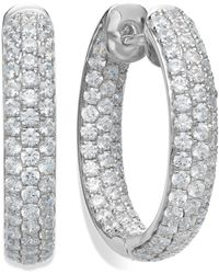 Arabella - Sterling Silver Swarovski Zirconia Pave Hoop Earrings (8-1/2 Ct. T.w.) - Lyst