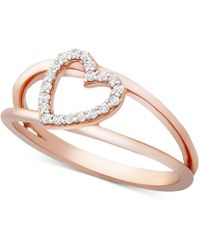 Wrapped in Love ? Diamond Heart Ring (1/10 Ct. T.w.) In 14k Rose Gold, Created For Macy's - Metallic
