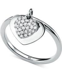 Michael Kors - Kors Love Cz Pavé Heart Sterling Silver Ring - Lyst