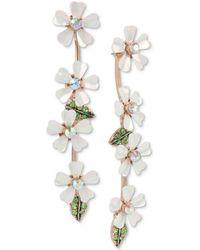 Betsey Johnson - Gold-tone Crystal Flower Linear Drop Earrings - Lyst