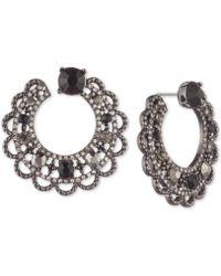 Marchesa - Hematite-tone Stone & Crystal Scallop-edge Swirl Hoop Earrings - Lyst