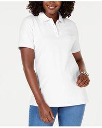 Karen Scott Petite Cotton Polo Shirt, Created For Macy's - White