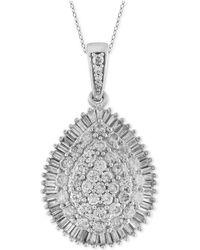 Macy's - Certified Diamond Cluster Teardrop Pendant Necklace (2 Ct. T.w.) In 14k White Gold - Lyst