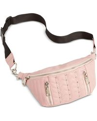 Steve Madden Studded Quilted Faux Leather Belt Bag - Pink