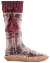Muk Luks Slipper Socks With Tassels - Purple