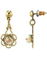 2028 Gold-tone Ivory Colour Porcelain Rose Drop Earrings - White