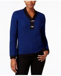 Karen Scott Metallic-hardware Cotton Sweater, Created For Macy's - Blue